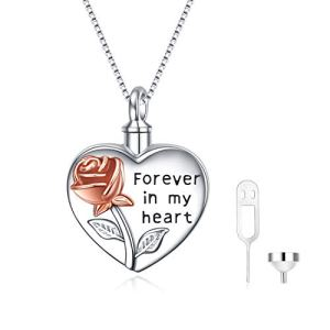 YFN Sterling Silver Rose Flower Urn Necklace for Ashes Cremation Jewelry for Ashes of Loved Ones Keepsake, Locket Necklace for Picture