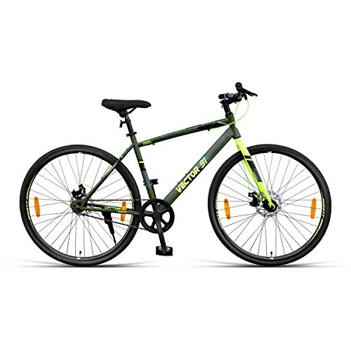 VECTOR 91 Wanderer 700C Single Speed Hybrid Bike ( Army Green , Ideal For: 12+ Years , Brake: Disc )