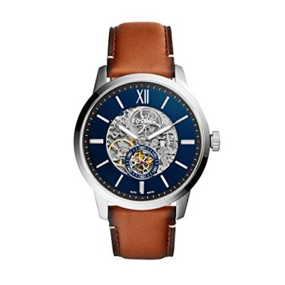 Fossil Men's Townsman Auto Automatic Leather Multifunction Watch, Color: Silver/Blue, Brown (Model: ME3154)