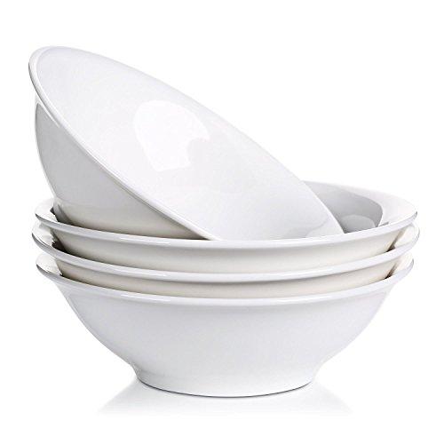 LIFVER 800ml Porcellana Ciotole per Cereali, Ciotole per Pasta, Ciotoline da Dolce, Bianco, Set di 4