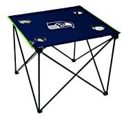 Easy to Assemble design with portable steel frame Team colored trim and large team logo 4 mesh cup holders (2XL & 2 regular) Includes black carry bag Holds up to 50lbs