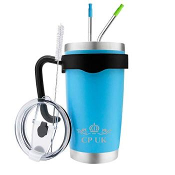 CP UK -Re-usable Coffee Mug 20 oz Stainless Steel Double Wall Vacuum Insulated Travel Tumbler Environmentally healthy with Removable Handle Lid Straws with silicone tips (Ocean Blue)