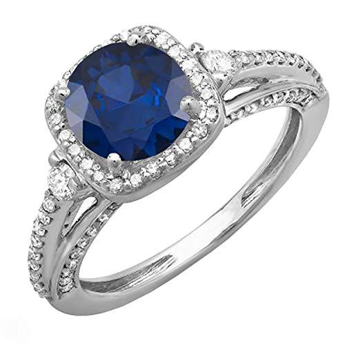 14K oro blanco redondo azul zafiro y blanco diamante–anillo de compromiso halo de novia