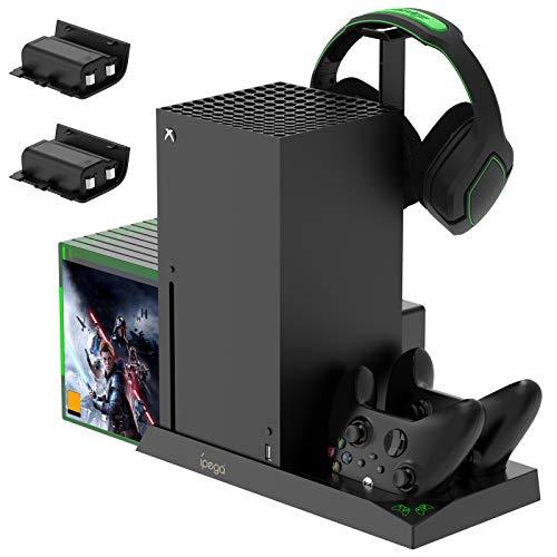 FASTSNAIL 5-in-1 Vertical Stand für Xbox Series X, Lüfter kühler für Xbox Series X mit wiederaufladbaren 2x1400 mAh Akkus, Controller Ladestation, Game Disc Steckplätzen und Headset Ständer