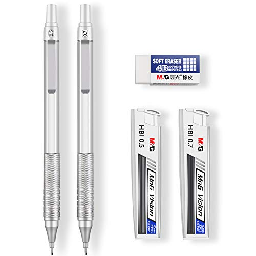 Mechanical Pencils, Jimmidda 0.5 and 0.7 Mechanical Pencils with Refills for Writing, Drawing, Signature.