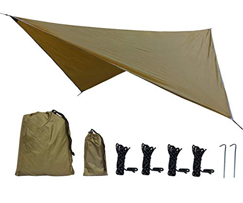 Uong Zeltplane Camping Zelt Tarp, 3.6x2.9m PU2000mm Wasserdicht Hängematte Tarp Regen Fliegen 360 * 290cm mit 2 Aluminiumpfähle + 4 Seilen, Leichte Tragbare für Camping(Kamel)