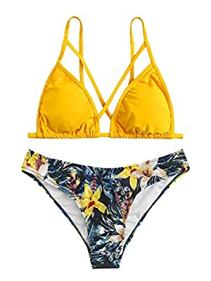 Material: 82% Polyester, 18% Spandex; Fabric is good and feels comfy when you wear it Self tie triangle top, criss cross front, adjustable spaghetti strap, plunge neck bathing suit Floral panty bikini set, low rise, thong bikini set, v neck, solid, t...