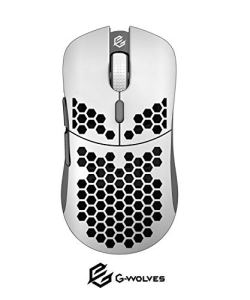G-Wolves Hati HT-M 3360 Ultra Lightweight Honeycomb Shell Wired Gaming Mouse up to 12000 cpi - 6 Buttons - 2.18 oz (61g) (Glossy White)