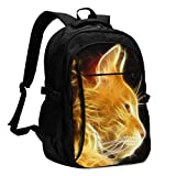 XCNGG Fire Cat Travel Laptop Mochila College School Bag Mochila Informal con Puerto de Carga USB
