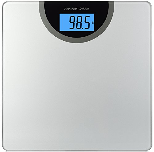 BalanceFrom Digital Body Weight Bathroom Scale with Step-On Technology and Backlight Display, 400 Pounds, Regular, Silver