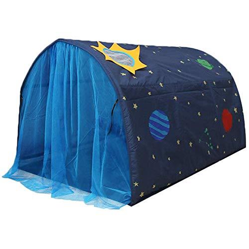 Powcan Kinderzelt für Mädchen Jungen Spielzelt für Kinder Galaxie Sternenhimmel Spielhaus Zelt Kinder Pop up Zelt mit doppeltem Netzvorhang und Tragetasche für Indoor Outdoor Spiele 140x100x80cm