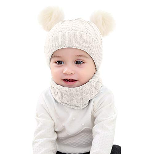 Borlai - Set di 2 Cappelli Invernali Lavorati a Maglia con Pompon e Fazzoletto da Collo, per Bambini da 1 a 6 Anni Bianco Bianco