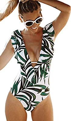 V neck one piece swimsuit with ruffle at front and back, sexy and fashionable, green leaves pattern , wearing this swimsuit with full of confidence. Sexy monokini with slightly removable pads,no underwire, the front straps for extra support and shapi...