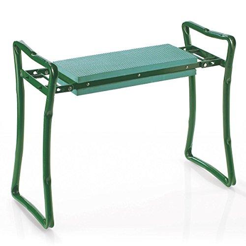 TRI Knie Stuhl Kniebank Schaumkissen Kniehocker Knieschutz Arbeitshocker Gartenbank grün Stahl Kunststoff für Garten klappbar