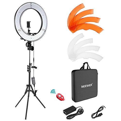 "Neewer Ring Light Kit:18""/48cm Outer 55W 5500K Dimmable LED Ring Light, Light Stand, Carrying Bag for Camera,Smartphone,YouTube,TikTok,Self-Portrait Shooting, Black, Model:10088612 (Electronics)"