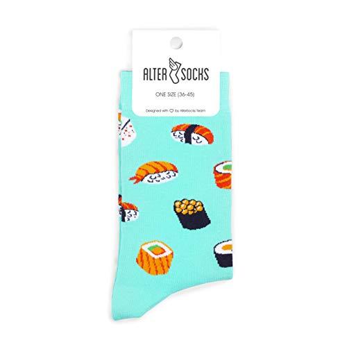Altersocks - Calzini unisex fantasie e colorate, in cotone, modello Sushi, taglia unica (da 36 a 45)