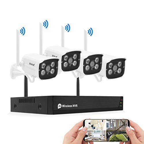 JideTech 8CH 5MP Kit Videosorveglianza WIFI (8CH NVR + 4 * 2MP Telecamera Esterno), Sistema di sorveglianza wireless IR night Vision, Motion Detection, P2P (Not include HDD)