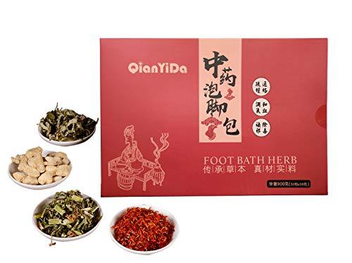 QianYiDa 30 Bags Foot Bath Herb, 31oz Foot Soak Herbal Chinese Medicine for Foot Reflexology 中药泡脚足浴包 真材实料900g 老姜 红花 艾草 益母草 四味草药混合