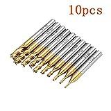 10 stücke Titan Beschichtung 1,5-6,0mm Bohrer Sets HSS 4 Flöte Schaftfräser 6mm Schaft CNC Bohrer