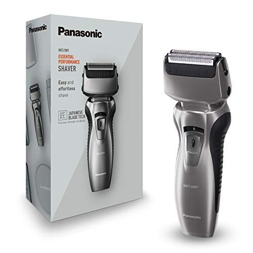 Panasonic ES-RW33-H503 - Afeitadora y recortadora para hombre (2 en 1, hojas precisión nanométrica, cabezal giratorio flexible, lavable, hojas dobles, luz de carga, funda de viaje) gris