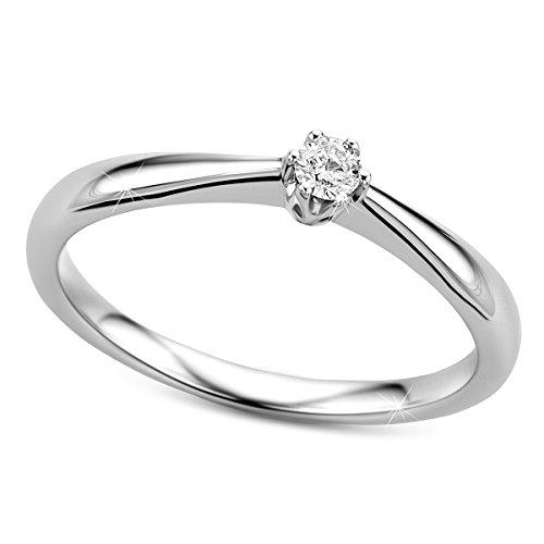 Orovi anillo solitario de mujer con diamante 0.09 quilates en oro blanco 9 kilates ley 375 Anillo Hecho a Mano en Italia