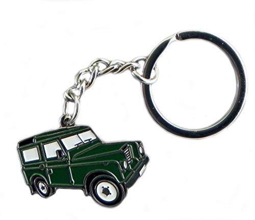 Metal Enamel Keyring Green Landrover (4x4 Land Rover)