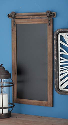 Deco 79 84252 Rectangular Wood and Metal Chalkboard, 28' x 16', Brown/Black