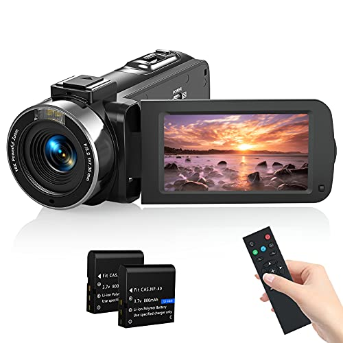 Videocamera Digitales, 1080P 30FPS 36MP Camcorder per Youtube Vlogging, Streaming Video, Fotocamera con IR Visione Notturna, 3.0' IPS Schermo, 16X Zoom Digitale, Video Camera con Telecomando