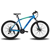 Hiland 26 Inch Mountain Bike Shimano 21 Speed with Suspension Fork,Dual-Disc Brake,Fenders Urban Commuter City Bicycle 17inch Frame Blue MTB Bicycle