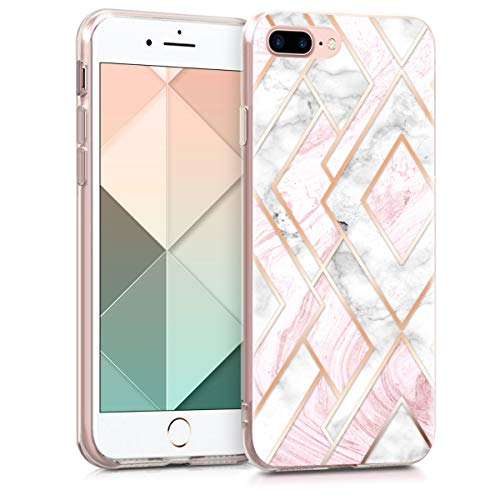 kwmobile Funda Compatible con Apple iPhone 7 Plus / 8 Plus - Carcasa de TPU y mármol y Oro en Oro Rosa/Blanco/Rosa Palo