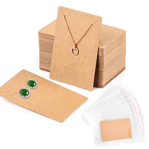 100Pcs Tarjetas Exhibición de Joyería con 200 Bolsas Autoadhesivas,Tarjetas de Exhibición de Pendiente Collar Kraft Exhibición de Pendientes de Papel,Tarjetas para Pendienetes Collar Joya Mostrar