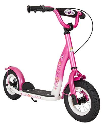 BIKESTAR Roller Kinderroller Tretroller Kickscooter mit Luftreifen für Mädchen ab 4-5 Jahre   10 Zoll Classic Kinder Scooter   Pink & Weiß