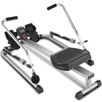 ANCHEER Rameur de Fitness Rameur de Sport 12 Niveaux de résistance/Affichage LCD/Support de Tablette/Système Silencieux/Pédale antidérapante/Siège réglable/Charge Max:220-265 lbs (Gris+12Niveaux)