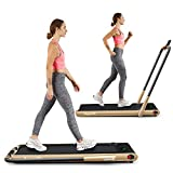 Goplus 2 in 1 Folding Treadmill, 2.25HP Under Desk Electric Treadmill, Installation-Free, with Remote Control, Bluetooth Speaker and LED Display, Walking Jogging Machine for Home/Office Use (Yellow)