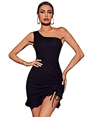Fabric has some stretch, soft and comfy Bodycon,one shoulder,sleeveless,ruched hem Suitable for club, nightclub, party, night out, clubwear, evening, wedding, homecoming Please refer to size guide carefully before purchasing at below description Mode...