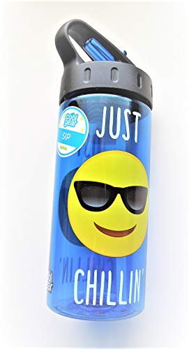 Emoji Flip Water Bottle with Straw Cool Gear BPA-Free