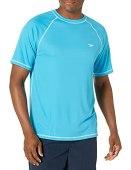 Speed Men's Short Sleeve Easy Rash Guard Swim Shirt with UV and UPF 50+ Protection, Cyan, L