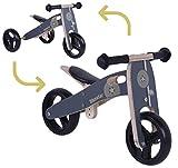 BIKESTAR Vélo Draisienne Enfants et Tricycle en Bois pour Garcons et Filles de 18 Mois   Vélo sans pédales Mini (Combinaison 2 et 3 Roues) évolutive 7 Pouces   Noir