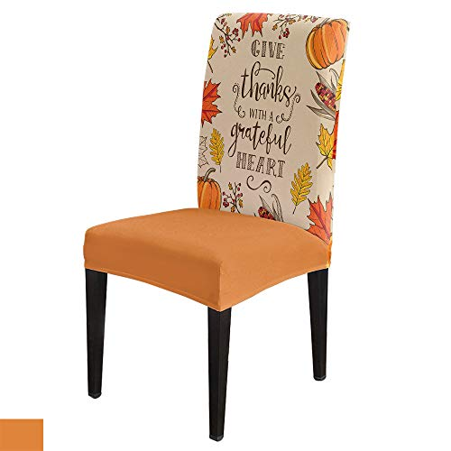 Pumpkin Maple Leaves Corn Dining Room Chair Covers Slipcovers Set of 8, Spandex Stretch Removable Washable Chair Seat Protector for Kitchen Hotel Banquet Thanksgiving Day