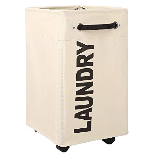 CAROEAS Pro+ Wäschekorb mit Rädern, 58,4 cm, Schwarz und Weiß, atmungsaktiver Bezug, strapazierfähig, wasserdicht, faltbar, Wäschesortierer, extra großer Wäschesack (Pro Plus 58,4 cm, Beige)