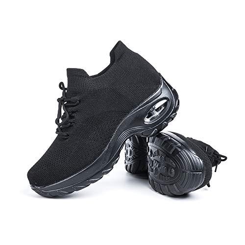 Zapatillas Deportivas de Mujer Zapatos Running Fitness Gym Outdoor Sneaker Casual Mesh Transpirable Comodas Calzado Negro Talla 37