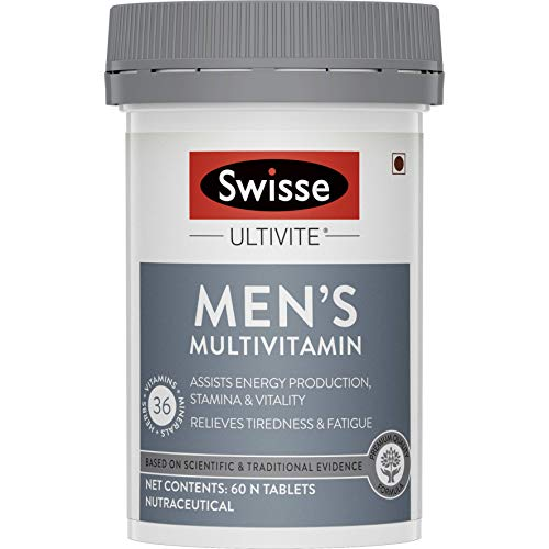 Swisse Ultivite Men's Multivitamin Supplement (with 36 Herbs, Vitamins & Minerals) for Immunity, Relieving Fatigue & Tiredness and Assisting Energy, Stamina & Vitality Production - 60 Tablets