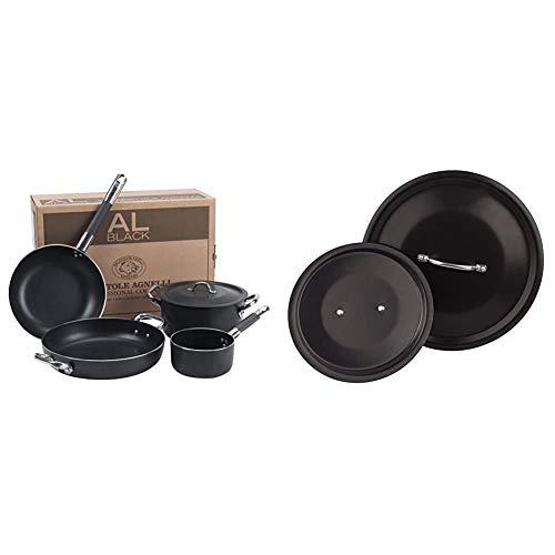 Pentole Agnelli ALSASETALBLACK4 all Black Set per 4 Persone, 3 mm, 5 Pezzi & Agnelli ALSA129SS16 Coperchio con Ponticello Tubolare, Alluminio Antiaderente, 16 cm