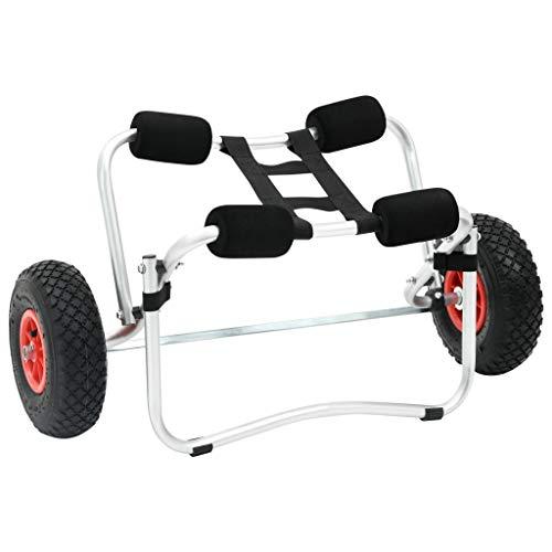 vidaXL Carrello per Kayak Pieghevole in Alluminio Rimorchio per Barca e Canoe