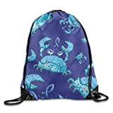 Etryrt Mochila de Cuerda,Bolsas de Gimnasia, Blue Crab Cartoon Unisex Sack Cinch Backpack Sport Mochila Bolsa