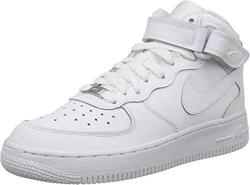 Nike - Zapatillas de baloncesto AIR FORCE 1 MID (GS) , Infantil , Blanco (WHITE), Blanco (WHITE), 38.5