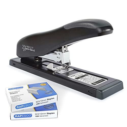 Rapesco 1307 Germ-Savvy Antibatterico, ECO HD-100 Cucitrice per Alti Spessori e Confezioni di 2.000 Punti 923/10 mm, Nero