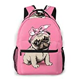 FeHuew Girls Cute Pug Cartoon Backpacks Bookbag 16 Inch Shoulder Bag Casual Daypack for 1-5th Grade