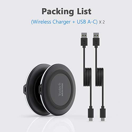 Yootech [2 Pack] Wireless Charger,Qi-Certified 10W Max Fast Wireless Charging Pad Compatible with iPhone 13/13 Pro/13 Mini/13 Pro Max/12/SE 2020/11,Samsung Galaxy S21/S20,AirPods Pro(No AC Adapter) 17