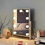 Lighted Vanity Makeup Mirror with Lights,Makeup Mirror with Dimmable LED Blubs Screen Touch Control Three Colors Lights Ajustable Angle for Dressing Table